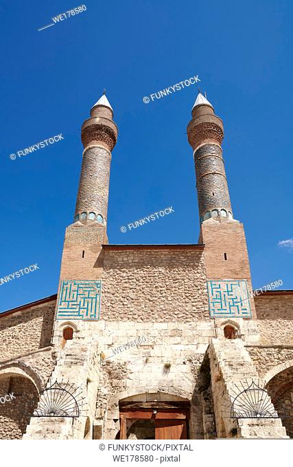 The Gökmedrese or Gök Medrese built in 1271 by Vizier Ata Faahreddin Ali. Above the crown door are two minarets with a bow and single cone decorated with glazed...