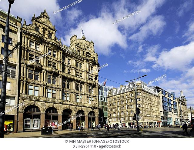 View of famous Jenners Department store on Princes Street in Edinburgh, Scotland, United Kingdom
