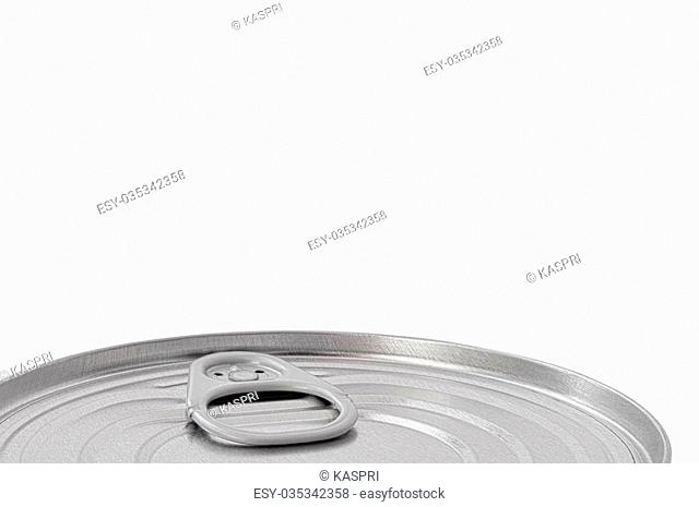 Tin Can Lid, Food Preserve Ringpull Canister Sealed Top, Large Detailed Isolated Macro Closeup, Blank Empty Copy Space