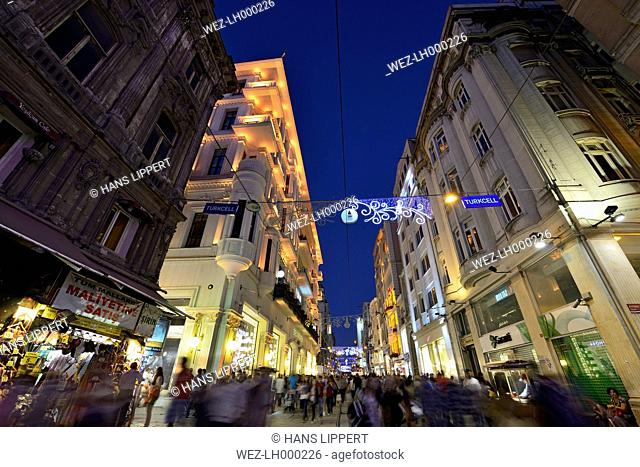 Turkey, Istanbul, View of Istiklal Avenue at night