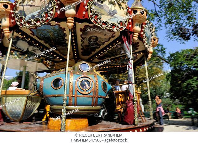France, Paris, Monceau park, the Jules Verne carousel