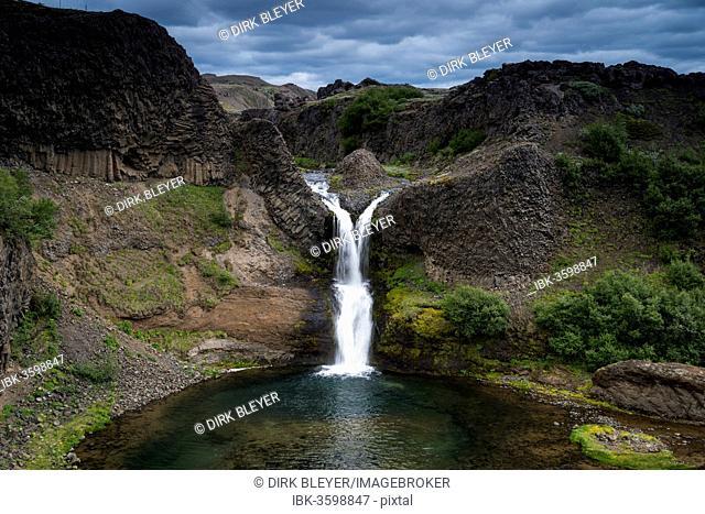 Gjárfoss waterfall, basalt rocks, Thjorsardalur valley, Southern Region, Iceland