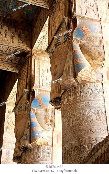 columns of the Hypostyle Hall of the Dendera Temple, Egypt