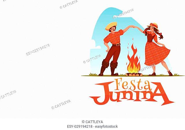 Girl and boy dancing at Brazilian Festa Junina Party. Vector illustration