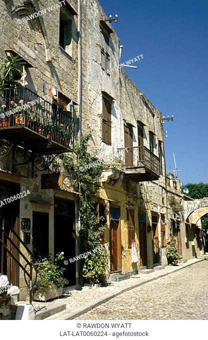 The Dodecanese island's largest town Rodhos with narrow street of old houses