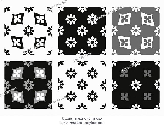Vector set of seamless floral patterns black and white vintage backgrounds collection