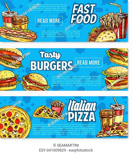Cheeseburger Banner Design Template Stock Photos And Images Age