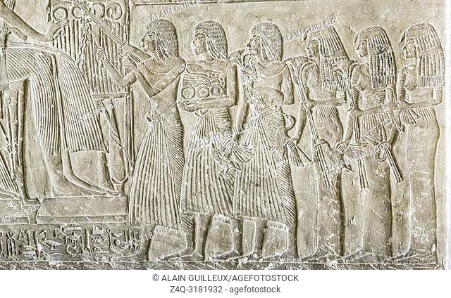 Egypt, Cairo, Egyptian Museum, stele of the chief goldsmith Amenemone (or Amenemonet). The children offer papyrus, gazelle, ducks to Amenemonet and Tahesyt
