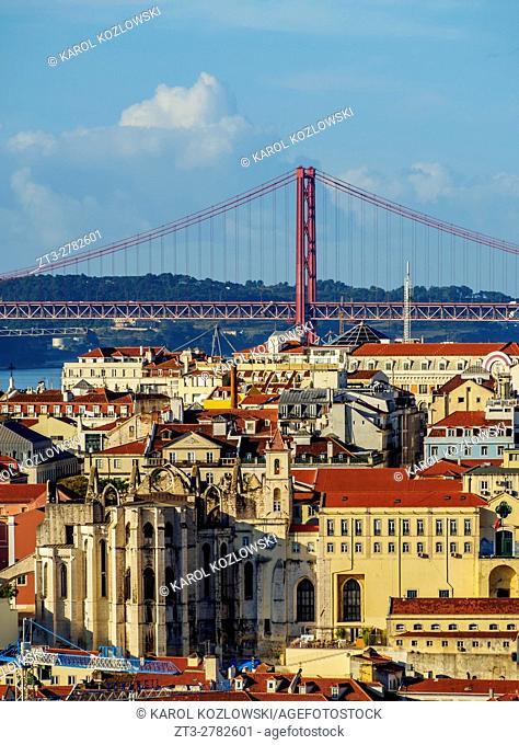 Portugal, Lisbon, Miradouro da Graca, View towards the Carmo Convent and the 25 de Abril Bridge