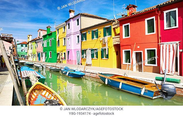 Burano - waterfront colored houses in village of Burano near Venice (Burano Lagoon Island), Italy