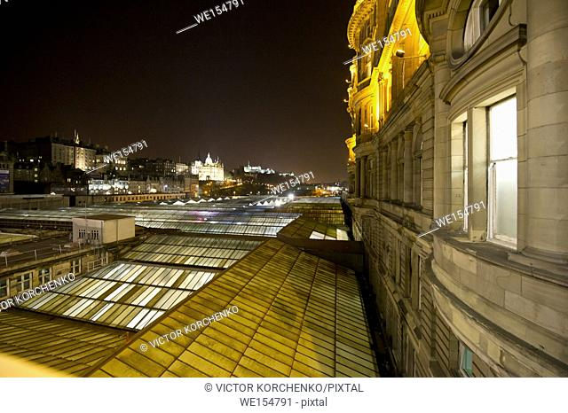 roofs of Edinburgh train station at night