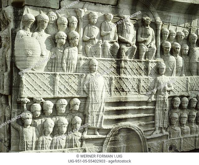 The reliefs on the base of the obelisk erected by Theodosius I show the emperor at the circus with his court, guards and other spectators