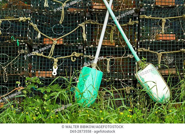 USA, Massachusetts, Cape Ann, Lanesville, lobster traps and buoys