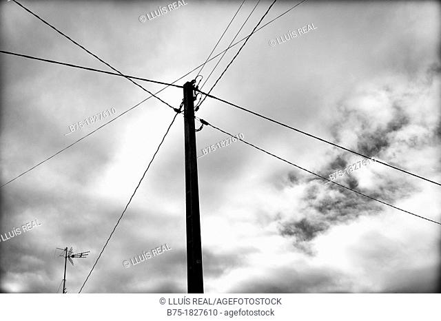 electric pole, electricity, sky, clouds, cables, communication