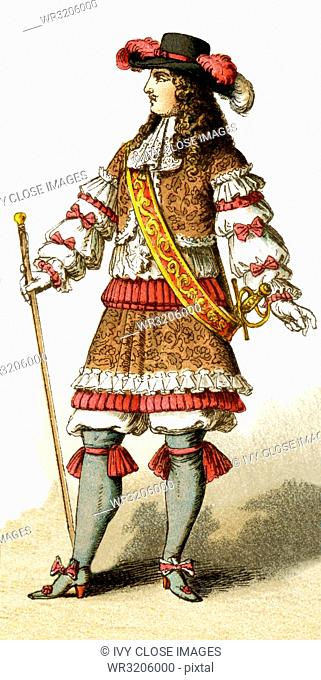 The Figure represented here is Louis XIV in 1660. The illustration dates to 1882