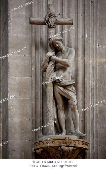 Edme Bouchardon 1698-1762) Ecole française Le Christ à la colonne, statue du choeur de l'église Saint-Sulpice à Paris 1733-1734 Photo Gilles Targat