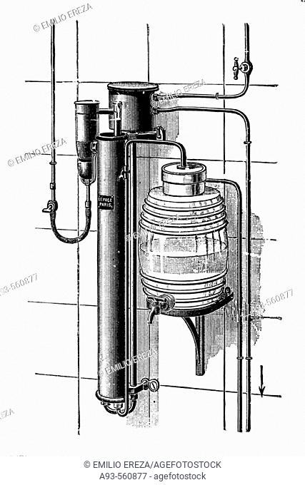 Lepage water sterilisation device. Antique drawing, ca. 1900
