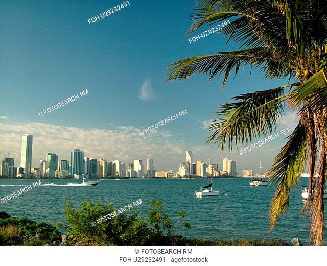 Miami, FL, Florida, Biscayne Bay, skyline from Rickenbacker Causeway