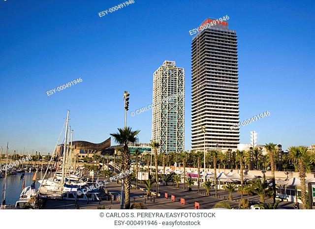 Modern architecture in Port Olimpic, Barcelona, Catalonia, Spain