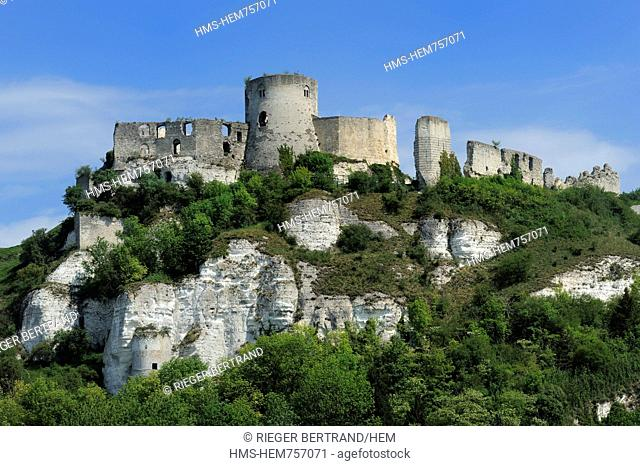 France, Eure, Les Andelys, Chateau Gaillard, 12th century fortress built by Richard the Lionheart