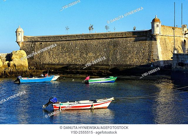 Europe, Portugal, Southern Portugal , Algarve region , Faro district , Lagos, fort of Ponta da Bandeira dated 17th century
