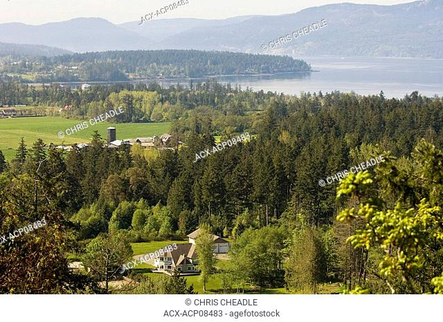 North Saanich farmland near Sidney British Columbia looking south west towards Saanich Inlet, Vancouver Island, British Columbia, Canada
