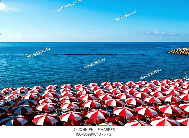 Beach umbrellas, Amalfi Coast, Italy