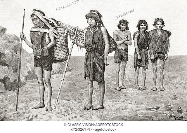 Peruvian Indian porters from the ancient provinces of Sumaco and Guema in the Quijos, Peru, seen here in the 19th century