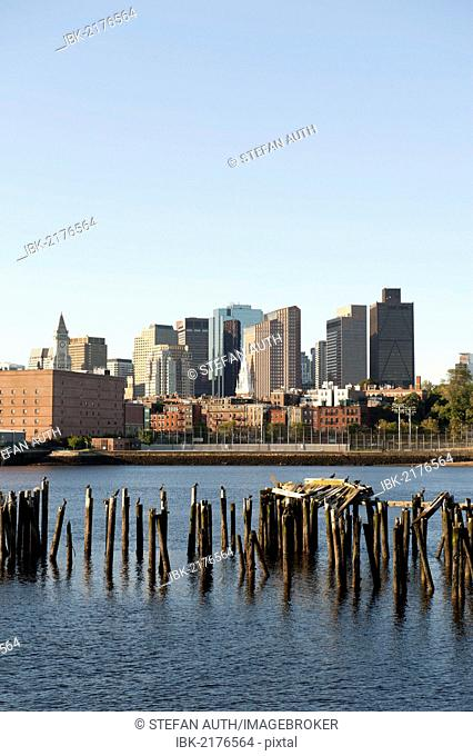Skyline with the church steeple of the Old North Church, Financial District, view from Charlestown Navy Yard over Boston Harbour, Boston, Massachusetts