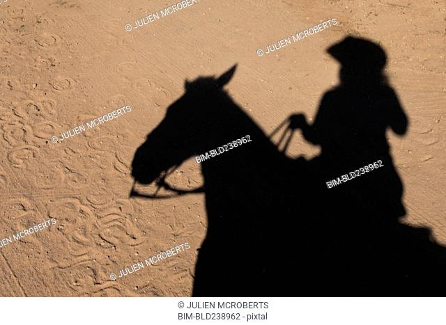 Shadow of woman riding horse