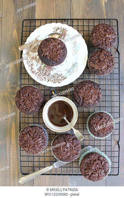 Chocolate muffins on a cooling tray