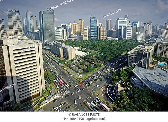 Philippines, Manila City, Makati District, Asia, Ayala Triangle, business district, town, Ayala Avenue, crossing, mult