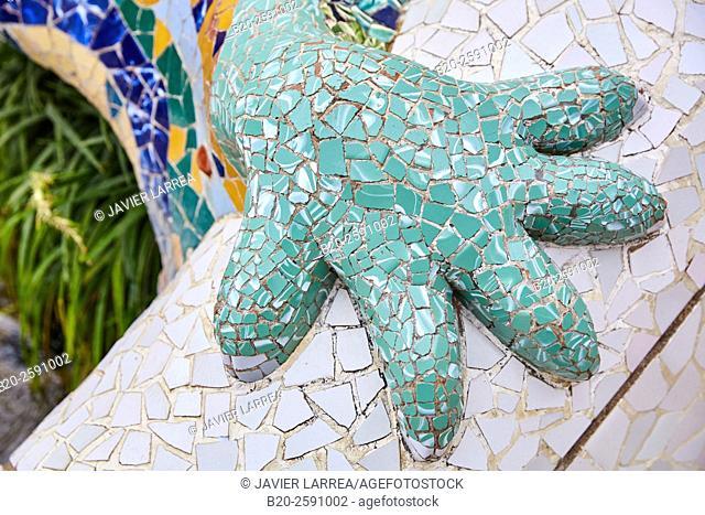 "Salamander sculpture (aka ""Drac"" or ""Dragon"" ), detail. Park Güell by Antonio Gaudí. Barcelona. Catalonia. Spain"
