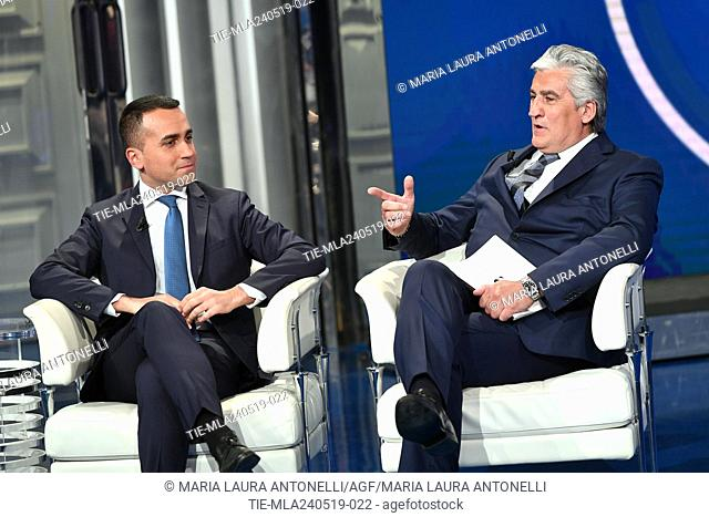 Italian Deputy Prime Minister and Minister of Industry and Labor Luigi Di Maio with his testimonial Auro Po President and CEO of Steel srl during the tv show...