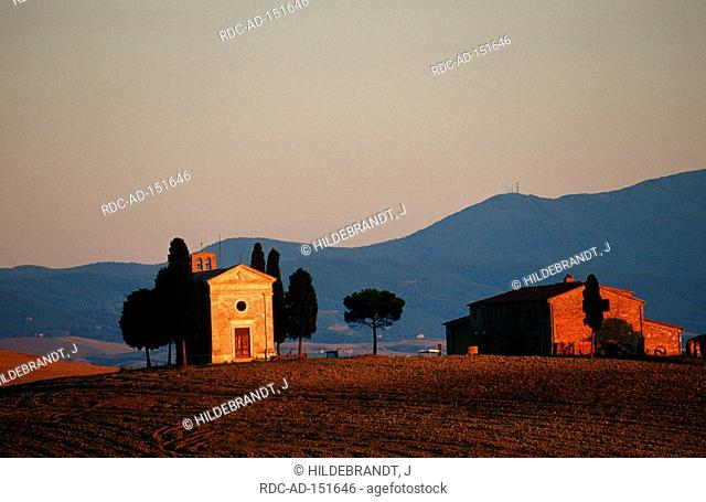Chapel Vitaleta in evening light Val d'Orcia Tuscany Italy