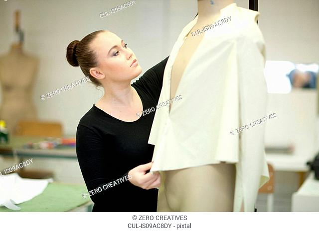 Fashion design student in class