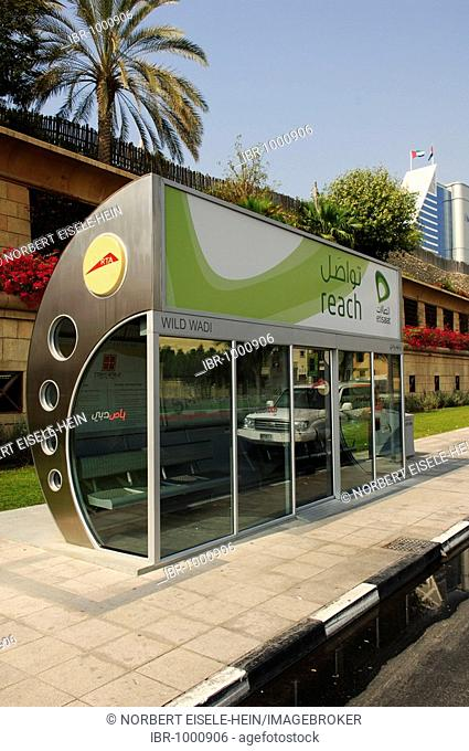 Jumeirah Beach Hotel, fully air-conditioned bus stop, Dubai, United Arab Emirates, Middle East