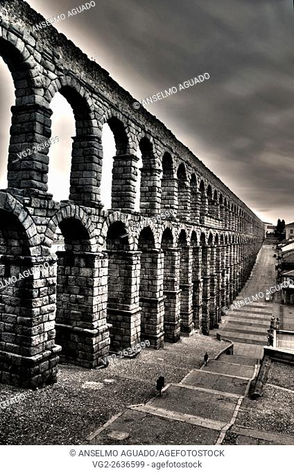 Aqueduct of Segovia Azoguejo Square at dawn north-south view black and white