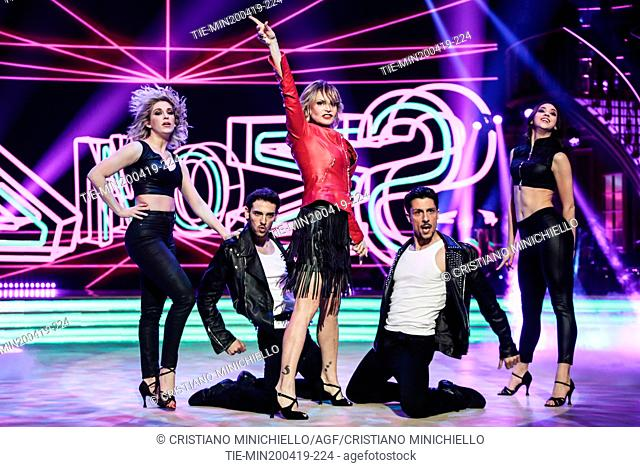 Simona Ventura during the performance at the tv show Ballando con le stelle (Dancing with the stars) Rome, ITALY-20-04-2019