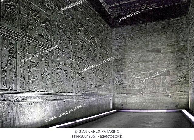 Egypt,Dendera,Ptolemaic temple of the goddess Hathor.Carvings on interior walls