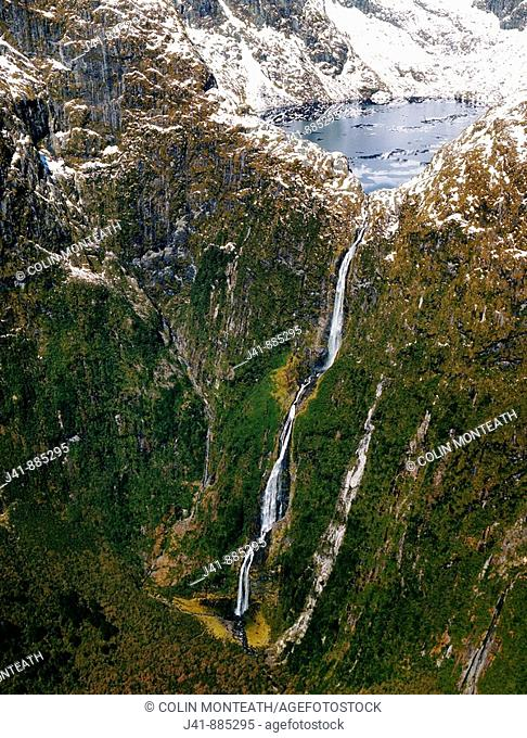 Sutherland Falls and Lake Quill aerial view Fiordland National Park New Zealand
