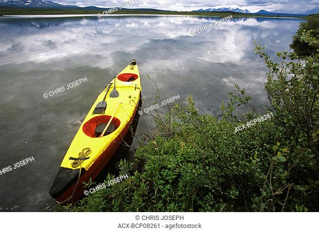 kayak in the headwaters of the Jennings River, northern British Columbia, Canada