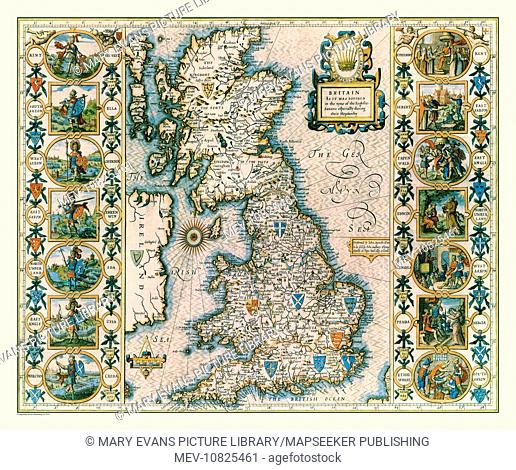 17th Century map of the Saxon Heptarchy, Great Britain