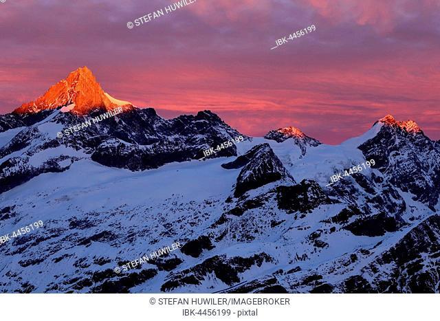 Zinalrothorn with snow in red dawn glow, Gornergrat, Zermatt, Canton of Valais, Switzerland