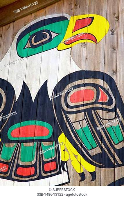 Painted eagle in a museum, Clan House, Icy Strait Point, Hoonah City, Chichagof Island, Alaska, USA