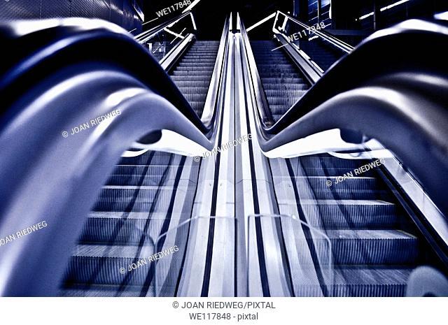 lonely subway escalators
