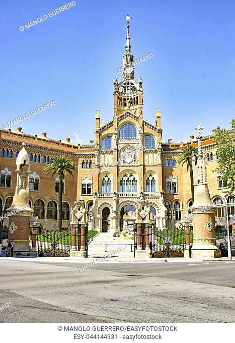 Hospital of San Pablo from Avenida de Gaudí, Barcelona, Catalunya, Spain