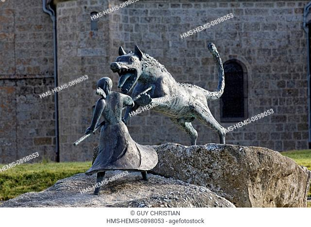 France, Haute Loire, Gevaudan, mountains of Margeride, Auvers, monument commemorating the battle of Marie Jeanne Valet servant of the priest Louis Bertrand...