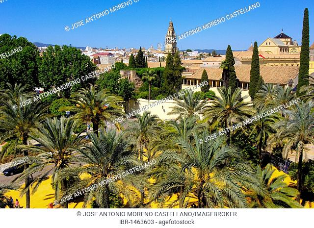 Alcázar de los Reyes Cristianos, Alcazar of Catholic Kings and minaret tower of the Great Mosque, Cordoba, Andalusia, Spain, Europe