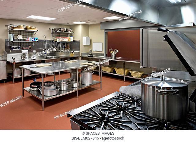 Empty commercial kitchen in restaurant